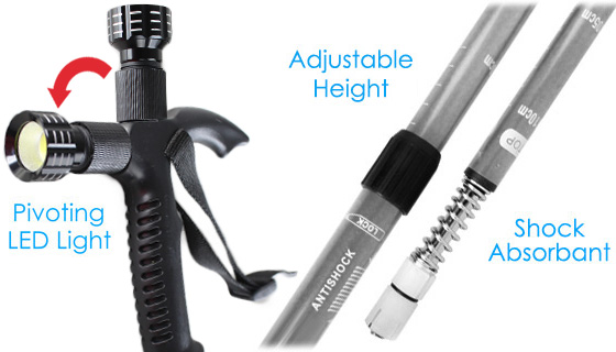 Anti-Shock Telescopic Walking Stick with Light
