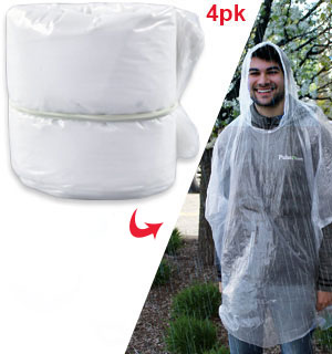 4-Pack of Clear Rain Poncho Refills