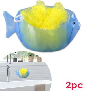 Kid's Blue Fish Loofah Set - #7961
