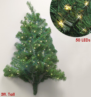 3 Foot Pre-Lit Christmas Wall Tree - #7997