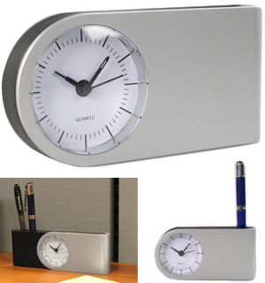 Contemporary Desk Clock with Pen Holder - #8057