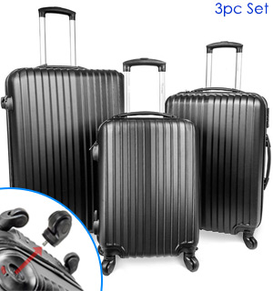 Set of 3 Flight-A-Way Luggage with Spinner Wheels and Built-in Travel Locks - #8075