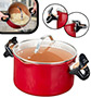 Red Copper 5qt Better Pasta Pot with Built-in Straining Holes