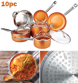 10 Pc Deluxe Copper Cooking Set - #8103