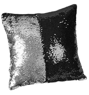 Two-Tone Sequin Throw Pillow - Black/Silver - #8113