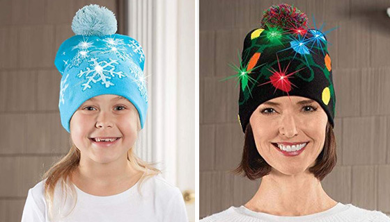 Festive Flashing Knitted Hats & Scarves