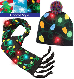 Festive Flashing Knitted Hats & Scarves - #8118