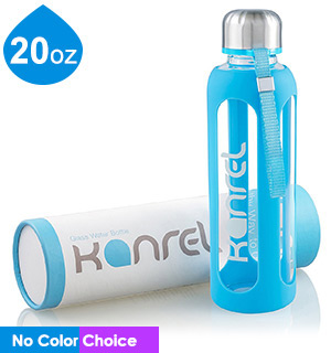 Kanrel 20oz Glass Water Bottle with Silicone Protector Sleeve - #8128