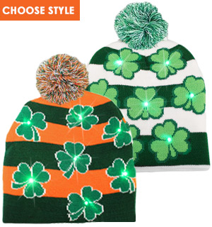 St. Patrick's Day Light Up Knitted Hat - Choice of TWO Styles - #8233