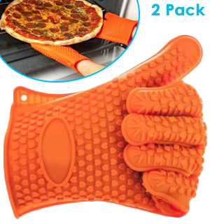 Heat Resistant Silicone Cooking Gloves - 2pk - #8256