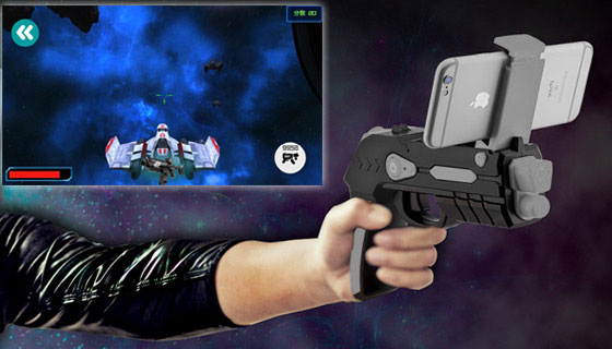 Augmented Reality AR Phaser with Smartphone Video Games