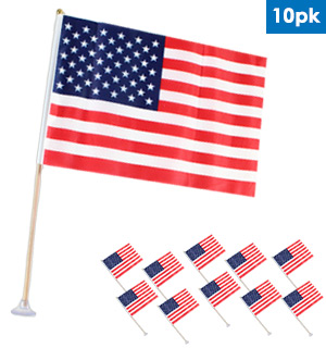 "8"" x 12"" American Flag with Suction Cup 10pk - #8285"