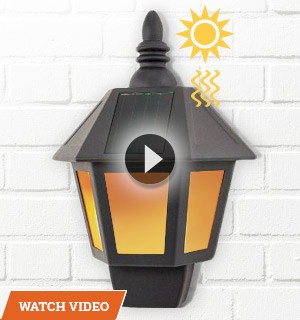 Solar Wall Lantern with Realistic Flame