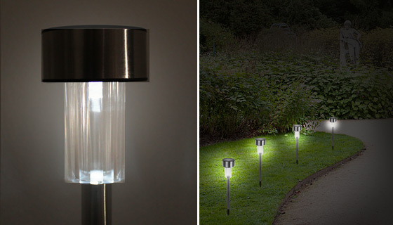 Solar Powered Stainless Steel Garden Lights   8pk