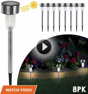 Solar-Powered Stainless Steel Garden Lights - 8pk