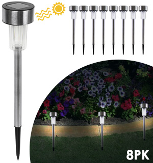 Solar-Powered Stainless Steel Garden Lights - 8pk - #8296