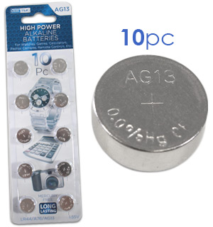 AG13 High Power Batteries 10-Pk