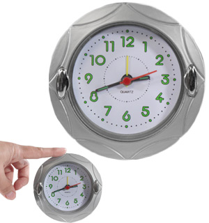 "4"" Round Quartz Analog Alarm Clock - #8340"