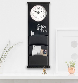 Multi Function Wall Clock w/ Chalkboard, Mail Slots and Key Hooks - #8350