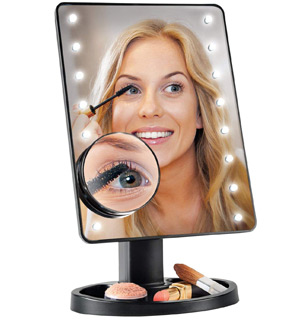 16 LED Lighted Mirror w/ 10x Magnifier - #8367