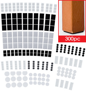300 Piece Stick-On Furniture Pads w/ Storage Container - #8377