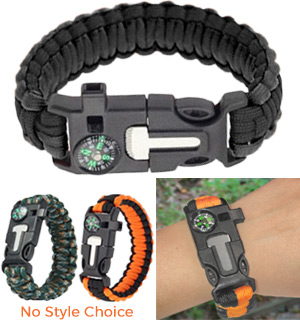 5-in-1 Survival Paracord Bracelet with Built-In Fire Starter - #8385