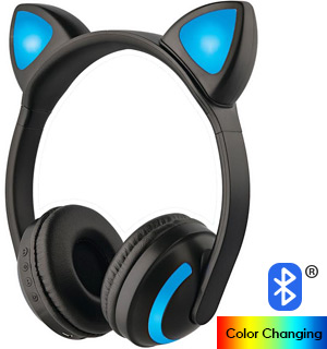 Bluetooth Color-Changing Cat Headphones - #8397