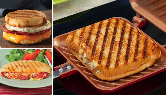 Red Copper Flipwich: The Nonstick Panini-Making Pan