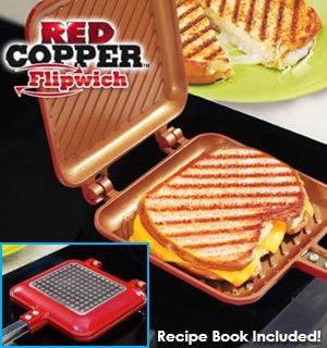 Red Copper Flipwich: The Nonstick Panini-Making Pan - #8430