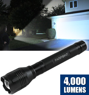 One Mile Bright 4000 Lumen Flashlight w/ 12 Free Batteries - #8508
