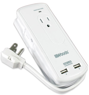 Mini Travel Surge Protector With Two Charging USB Ports - #8521