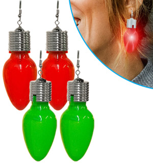 Jumbo Flashing Holiday Earrings 2-Pack - #8535A