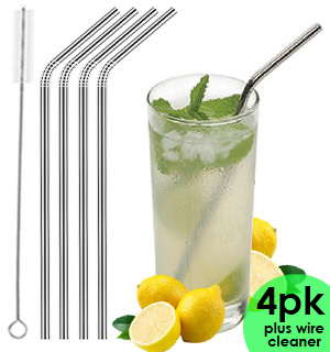 Set of 4 Reusable Stainless Steel Straws - #8556