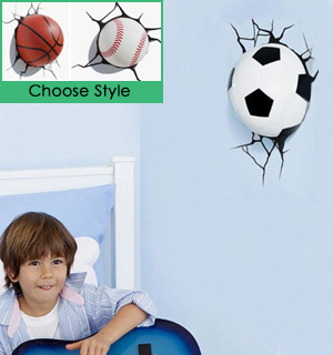 3DLightFX Wall-Mounted Mini Sports Nightlights - #8584