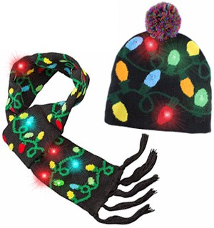 Light Up Knitted Hat and Scarf Set - #8590