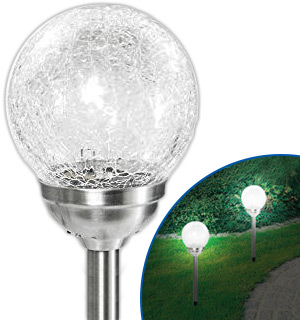 Crinkled Glass Solar Stake Light - #8591