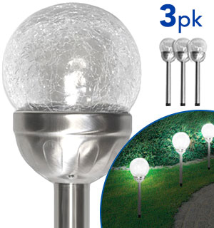 Crinkled Glass Solar Stake Light 3-Pack - #8591A