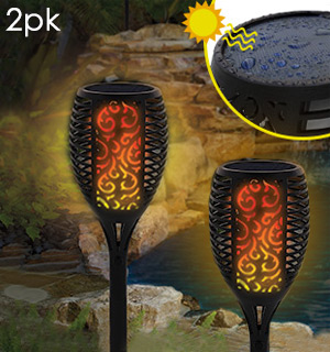 Small Solar Flickering Flame Stake Light 2pk - #8592