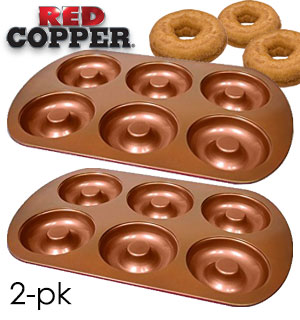 Red Copper Donut Pan 2pk - Bake Healthy Donuts At Home - #8598A