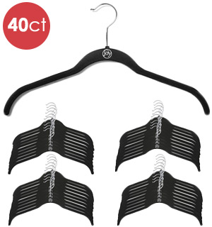 Joy 40-Pack of Velvet Space-Saving, Non-Slip Black Hangers - #8612A