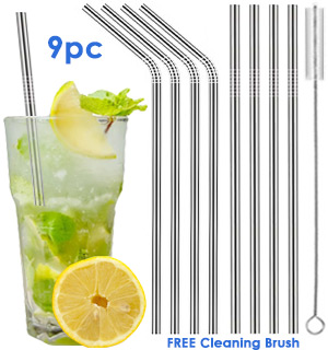 9pc Reusable Stainless Steel Straws - #8664