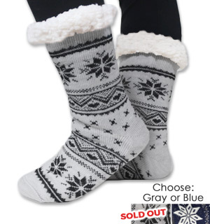 Sherpa Lined Slipper Socks - So Soft and Warm - #8698