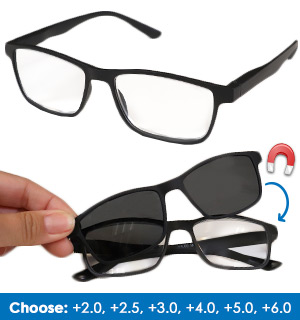Reading Glasses with Magnetic Sun Clip - #8793