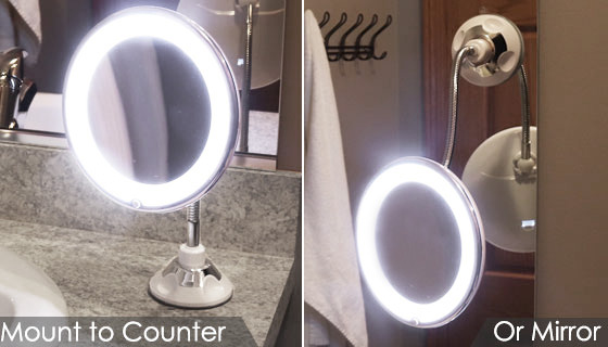 Flexible Light Up Stretch Magnification Mirror