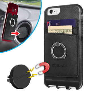 The 4-in-1 Smartphone Wallet, Ring, Kickstand and Magnetic Car Mount by Cobalt - #8812