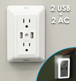 Dual USB Outlet with LED Nightlight - #8867