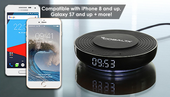 Wireless Charging Pad with Digital LED Clock by CobaltX