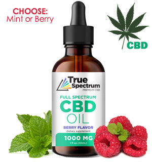 Flavored CBD Full-Spectrum Tincture Oil 1,000mg (Berry or Mint) - #8892