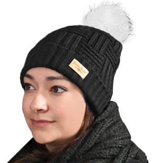 Plush-lined Knit Hat with Pom-pom