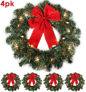 Pre-lit Holiday Wreaths - Set of 4 - #8932